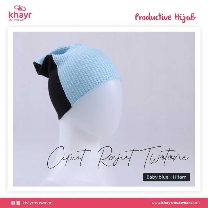 Ciput Rajut Twotone 07 Hitam - Baby Blue