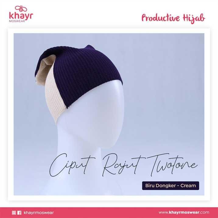 Ciput Rajut Twotone 14 Cream - Biru Dongker