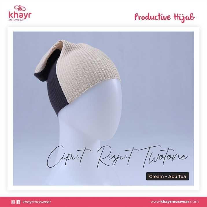 Ciput Rajut Twotone 11 Cream - Abu Tua