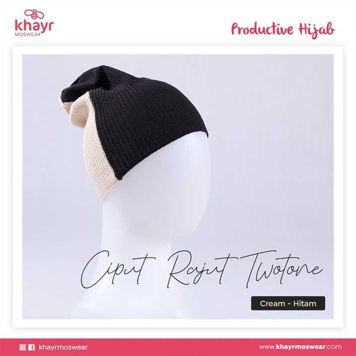 Ciput Rajut Twotone 03 Hitam - Cream