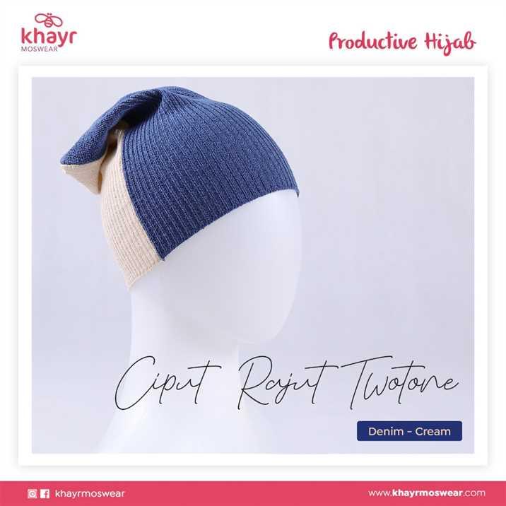 Ciput Rajut Twotone 16 Cream - Denim