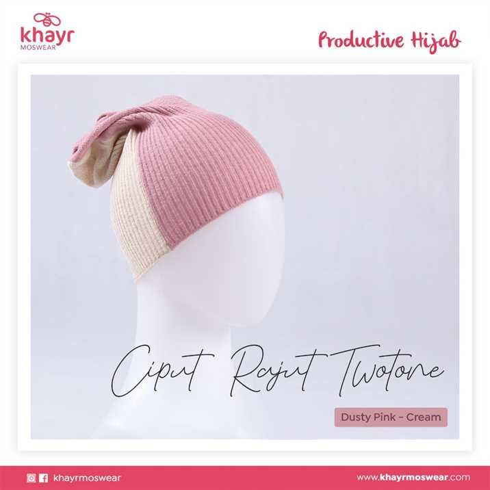 Ciput Rajut Twotone 09 Cream - Dusty Pink
