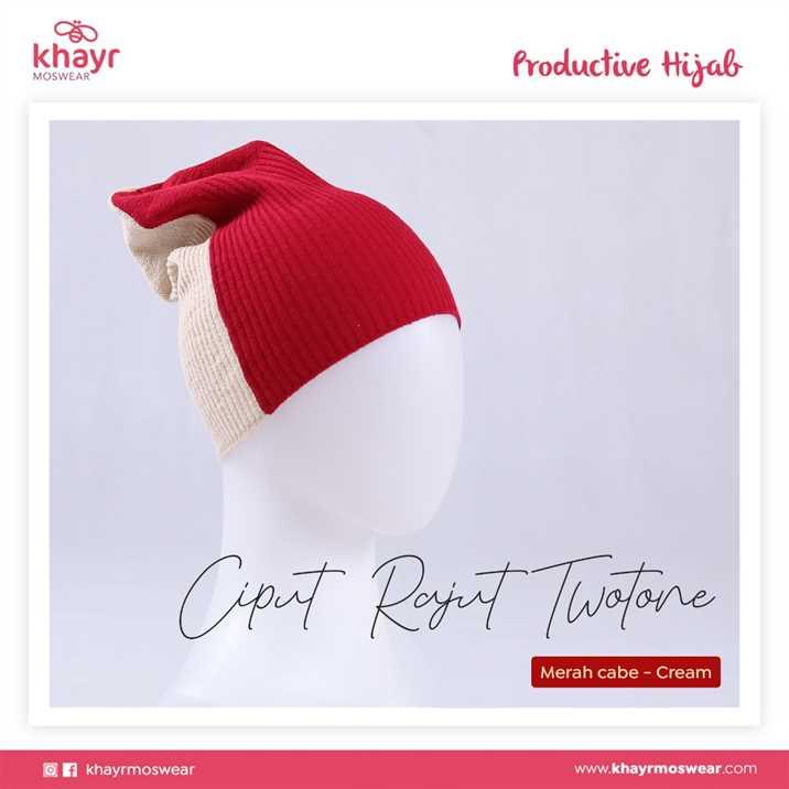 Ciput Rajut Twotone 12 Cream - Merah Cabe