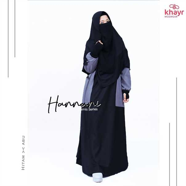 Gamis Hannani Hitam - Abu