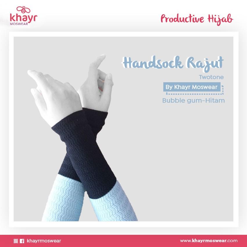 Handsock Twotone 10 (Bubble Gum - Hitam)
