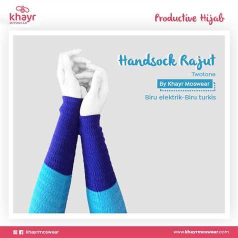 Handsock Twotone 17 (Biru Elektrik - Biru Turkis)