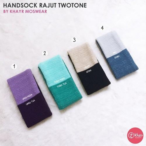 Handsock Twotone 20 (Hitam - Toska)