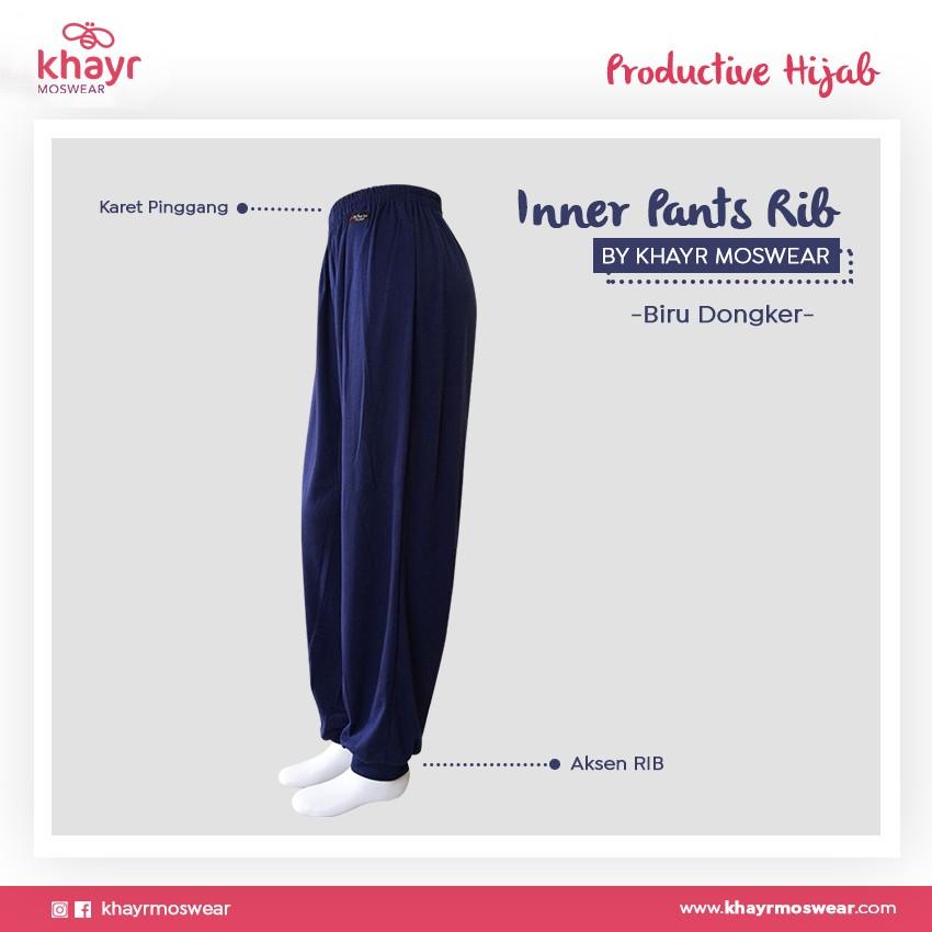 Inner Pants Rib Biru Dongker