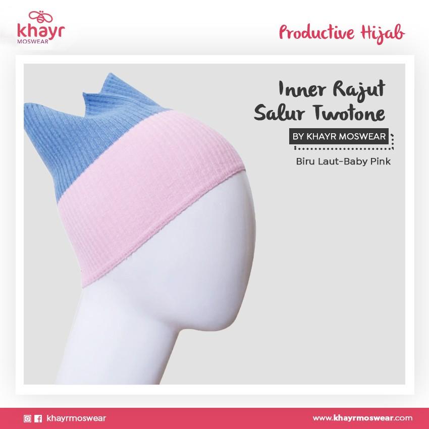 Inner Rajut Twotone 02 (Biru laut - Baby pink)