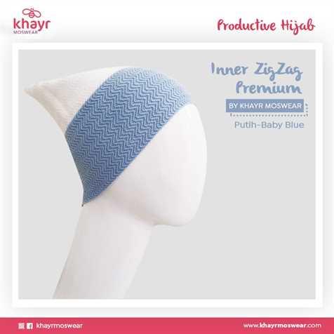 Inner zigzag Twotone 22 (Putih - Baby blue)