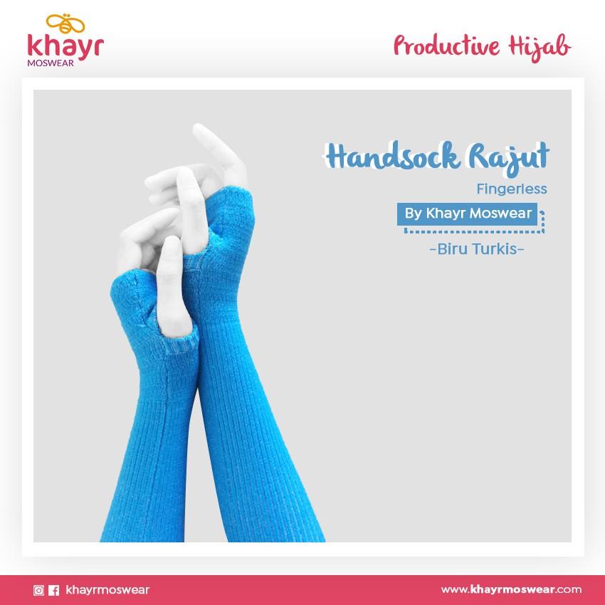 Rijek Handsock Fingerless Biru Turkis