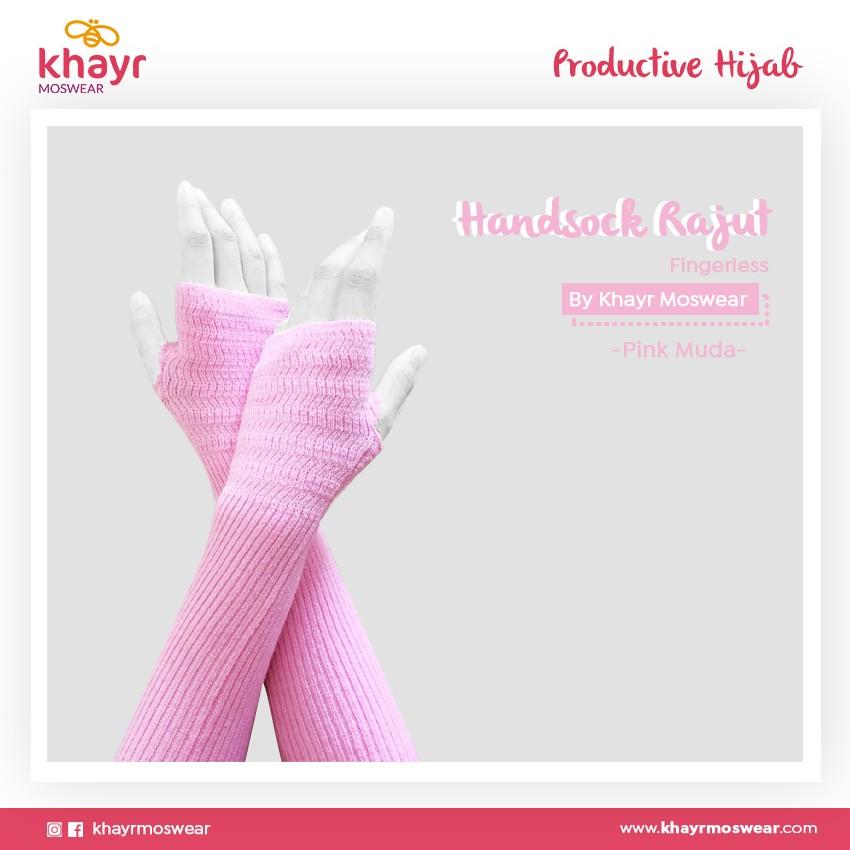 Rijek Handsock Fingerless Pink Muda