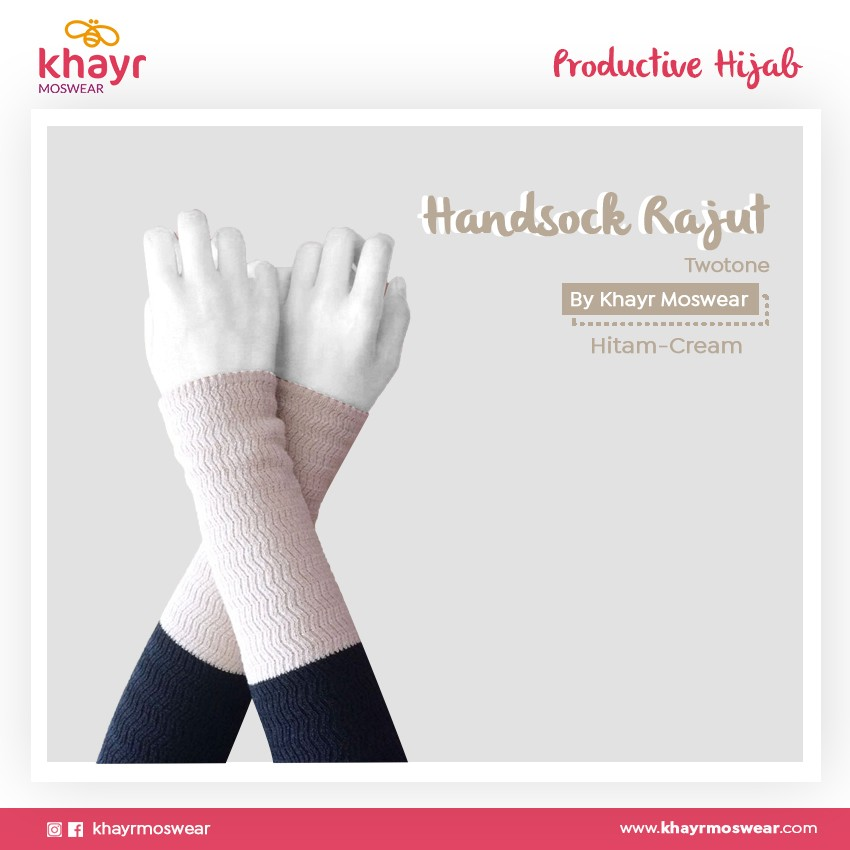 Rijek Handsock Twotone Cream - Hitam