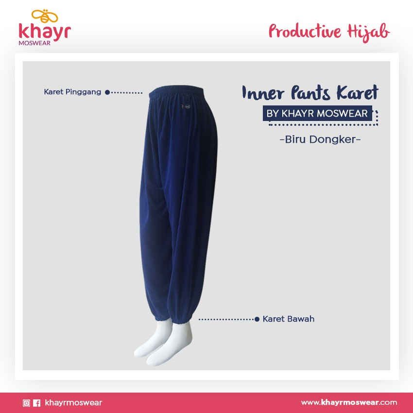 Rijek Inner Pants Karet Biru Dongker